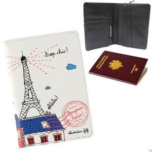PORTE PAPIERS Protège Passeport BONJOUR PARIS Tour Eiffel - Etui