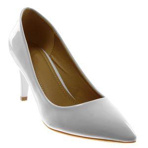 d5d7c3073e9ee Angkorly - Chaussure Mode Escarpin stiletto Decolleté femme verni Talon  haut aiguille 7.5 CM - Blanc - XH1031 T 36