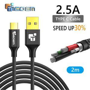 CÂBLE TÉLÉPHONE 2m Type de Câble C USB-C Data Sync 5V2.5A Fast Cha
