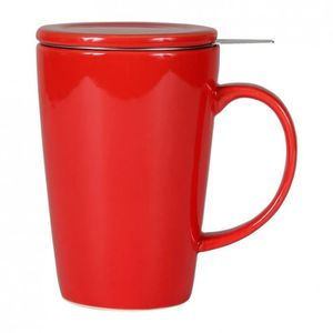 e076c0515dcac3 BOL - MUG - MAZAGRAN Sema - Tisanière céramique Rouge avec filtre 0.40L