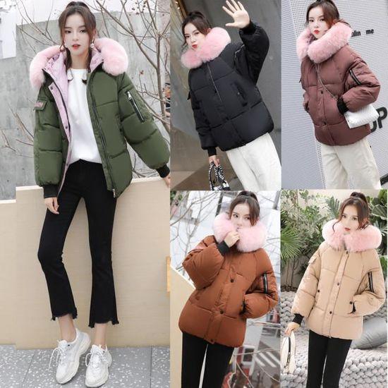 Fourrure D'hiver Chaud Noir Outwear Femmes Sapin Veste Slim Col Manteau Épaisse Parka UgwYq1