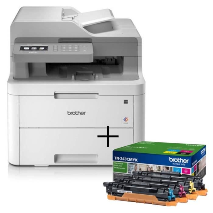 PACK BROTHER : Imprimante DCP-L3550CDW - Multifonction laser couleur - Ethernet - Wi-Fi + Pack 4 ton