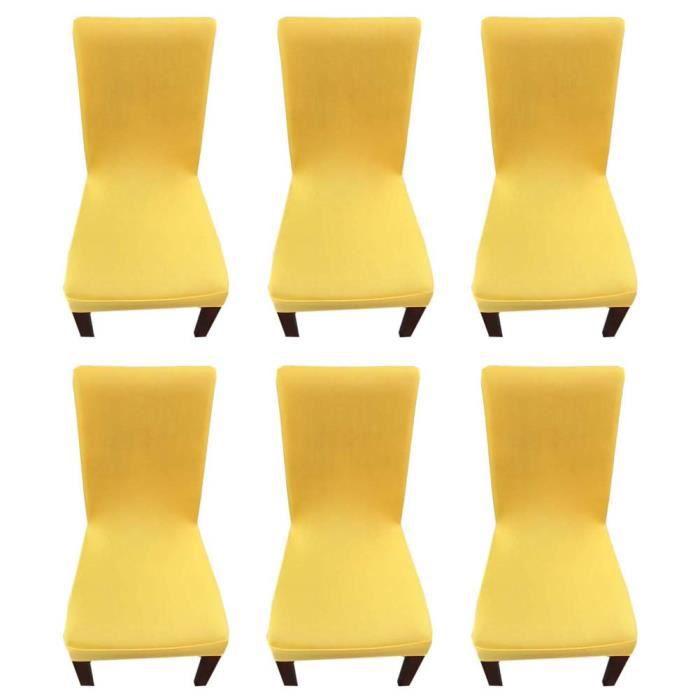 Couverture Mariage Bande Manger 6 Décoration Chaise De Salle Moderne Avec Pcs Élastiquejaune Extensible Pour À Housse 5j34LqcAR