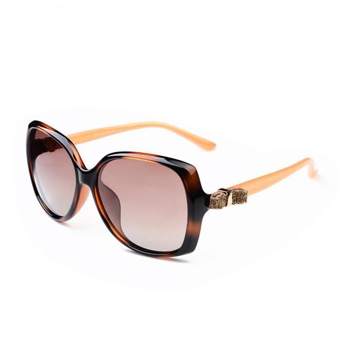 Lunettes de soleil femme de Fashion Magnifique Grande Cadre sunglasses  marque de Luxe Taupe 34c97beeb356