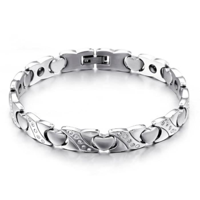 Bijoux Bracelet Femme Magnétique Chaîne Coeur Amour Oxyde De Zirconium Solide Acier Inoxydable Fantaisie Couleur Argent Long 271