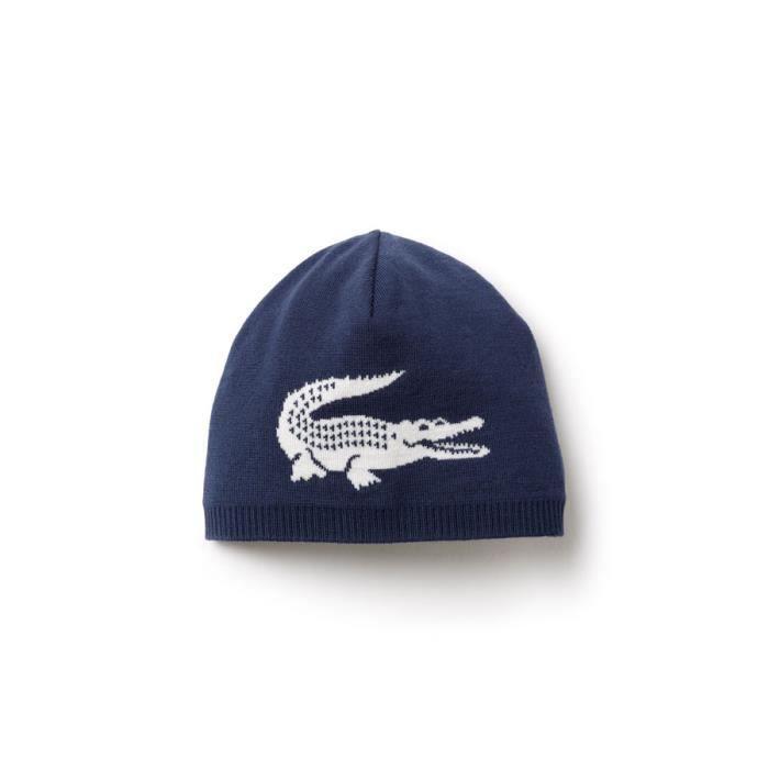 6d11b6800a Bonnet Lacoste réversible bleu marine et écrue. 100% laine - Achat ...