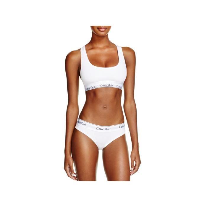ENSEMBLE DE LINGERIE Calvin Klein Femme Set Bustier Bikini Slip blanc 0dad571d416a