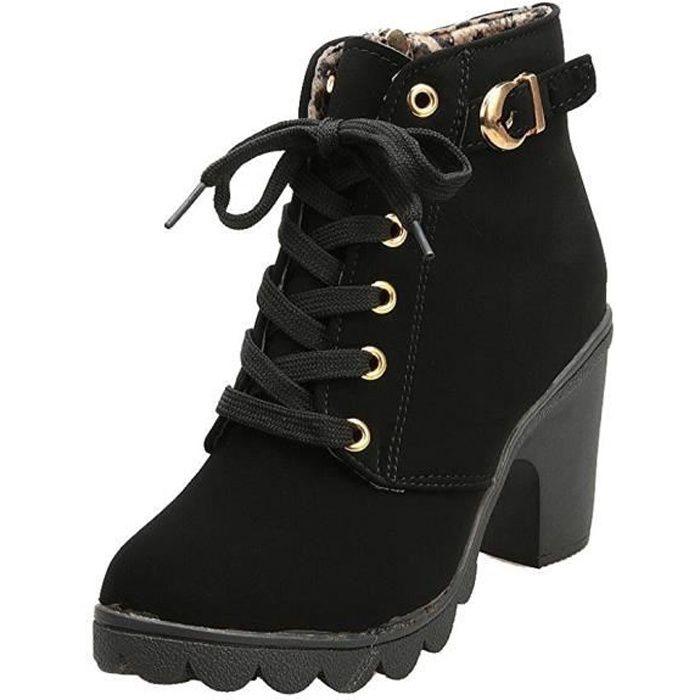b0fb7e8d5 Minetom Hiver Bottines Mode Femmes Haut Talon Lacets Cheville Bottes Boucle  Chaussures Martin Bottes