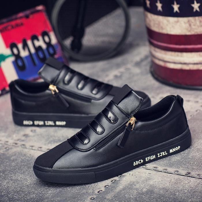 Mode Cuir Chaussures Hommes Respirant Souliers simple d'homme Side Slip fermeture à glissière Mocassins Flats,blanc,39