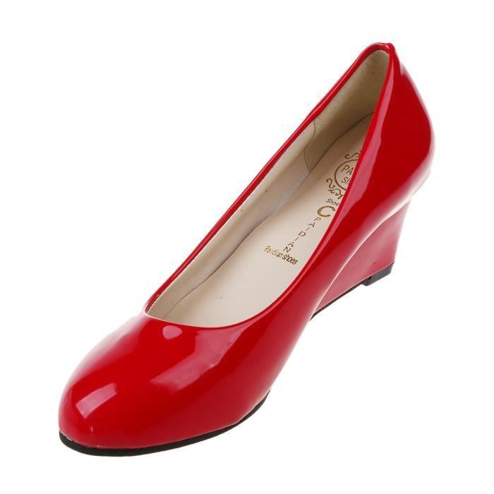 Nouvelle Femmes Chaussures compensees bout pointu en cuir verni Nude chaussures de travail Casual femmes Pompes rouge US6 = EUR37 =