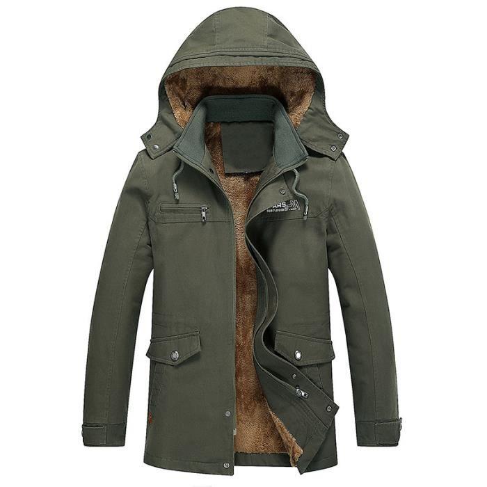 Coupe vent Verte Velours Casual Coton Moyenne Armée D'hiver Hommes Épaississement Manteau Hoodie Longueur Rx48w0nqC