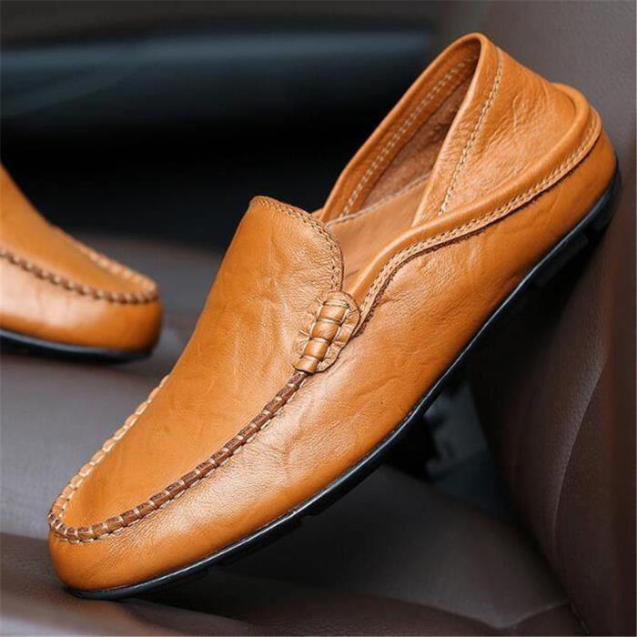 Mocassins Hommes Cuir Printemps Ete Leger Mode Plat Chaussures XFP-XZ078Marron43