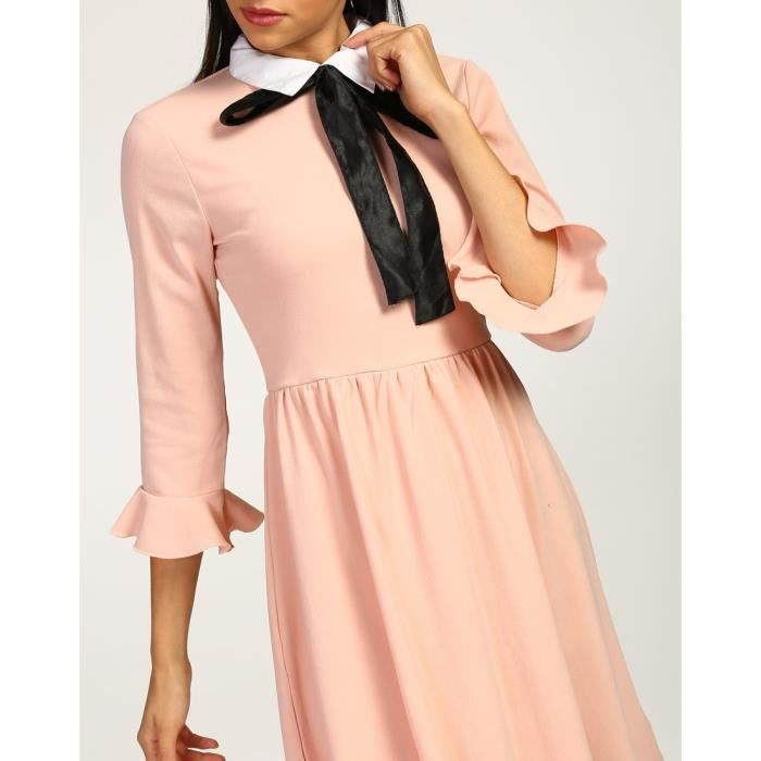 Trendtwo Pussy Elise Rose Femmes Robe Bow Nœuds Rose Georgette Mini Robe patineuse NBI4O