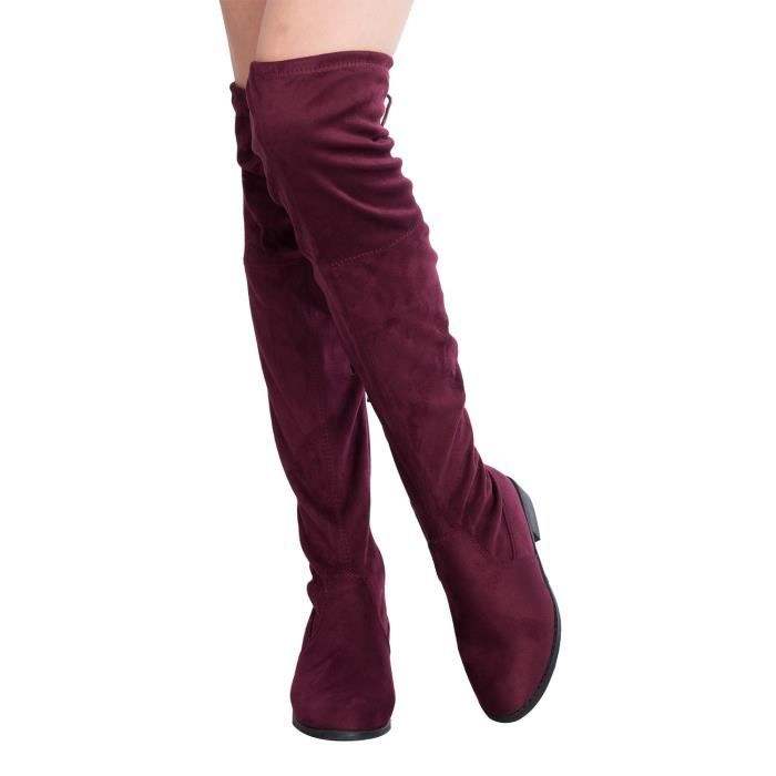 Sexy Over The Knee Thigh High Faux Suede And Leather Low Heel Boots V5OI2 Taille-39