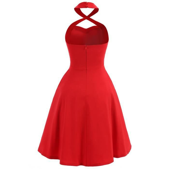 Womens Sexy Halter Neck Dress 1950s Vintage Dress Rockabilly Cocktail Swing Dresses Red 2HZQXT Taille-42