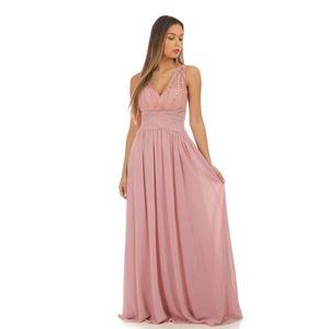 ac18fc25895 ... ROBE Robe de soirée longue rose foncé à strass. ‹›