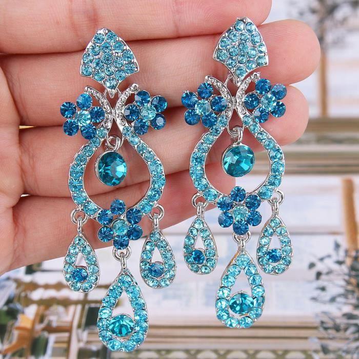 EVER FAITH® Cristal Autrichien Goutte dEau Bouquet Pendants dOreilles Bleu Ton dArgent A01579-14