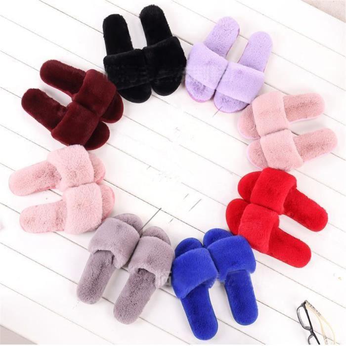 chaussons femme pour hiver nouvelle mode chaussure chaud Peluche courte léger version pantoufles femmes Plusie dssx377violet35