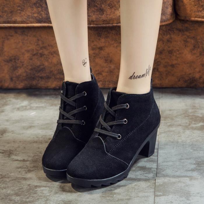 BOOTS Bottes hiver de haute qualité solides à lac-s dames PU Chaussures mode Bottes femme cheville,noir,39