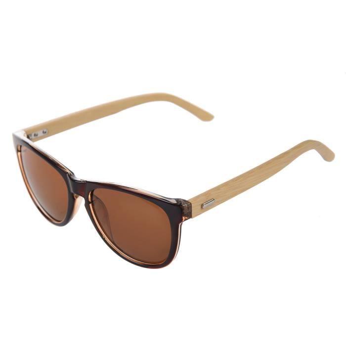 soleil brun de cadres verre bambou en de lunettes Unisexe 1qwxE8HT8