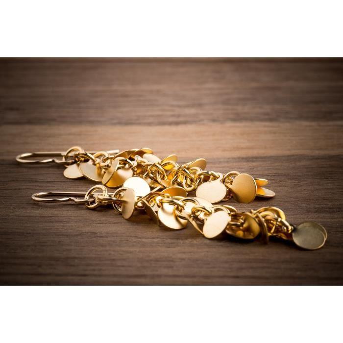 Womens Gold Disc Cluster Earrings UNL9B