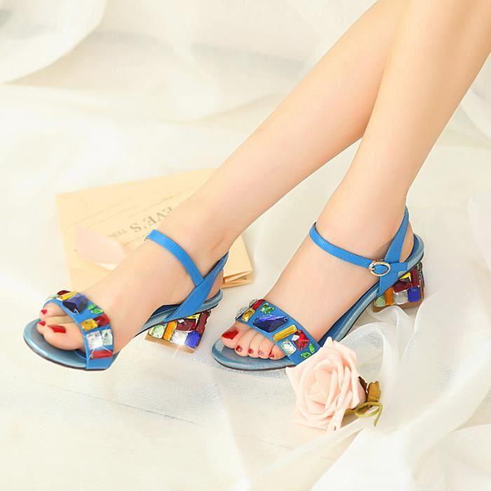 Nouveau strass bleu cheville sangle épaisses sandales à bout ouvert
