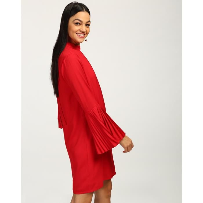 Trendtwo Rouge Lima noueuse Femmes Robe droite manches cloche Poivron rouge manches GeorgetteY9EQW Taille-34