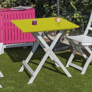 Table pliante 65x65x74 en acacia coloris vert anis doux - Achat ...