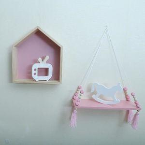 ETAGÈRE MURALE FRI Perles en bois étagère murale de la chambre de