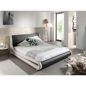 STRUCTURE DE LIT Lit design noir et blanc ARTHUR 140x200 cm deux pl
