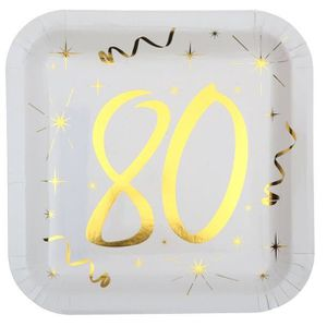 ASSIETTE JETABLE Assiette anniversaire blanche et or 80ans (x10) RE