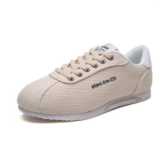 Chaussures De Skateboard Décontractées En Lin Pour Homme Beige Beige - Achat / Vente basket