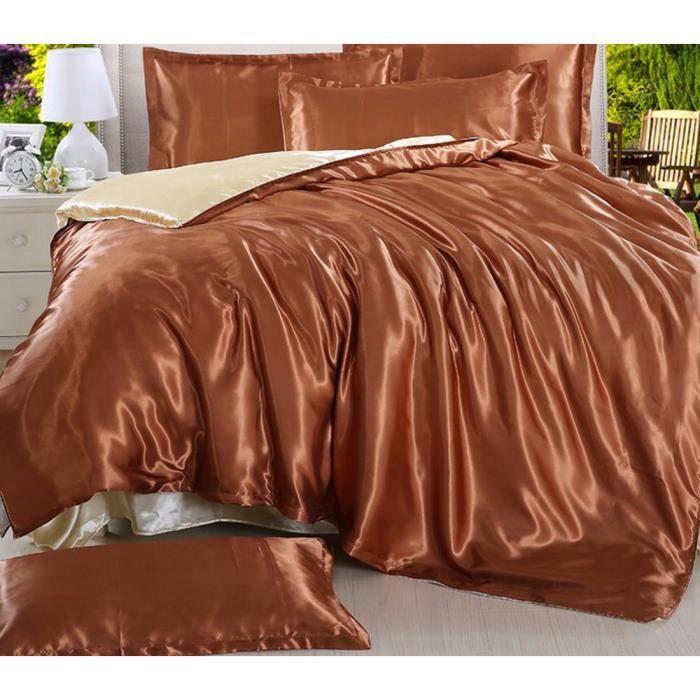 housse de couette marron et beige achat vente pas cher. Black Bedroom Furniture Sets. Home Design Ideas