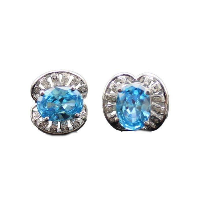 Boucles doreilles Argent 925-1000 ovale Topaz bleu et Zircon