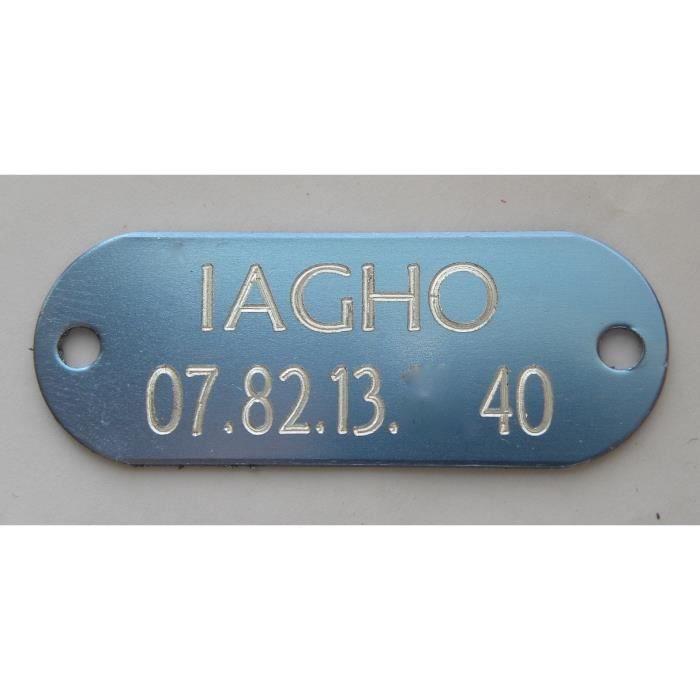 Plaque Médaille Gravée Bleue Argentée Collier Chien Chat Personnalisée