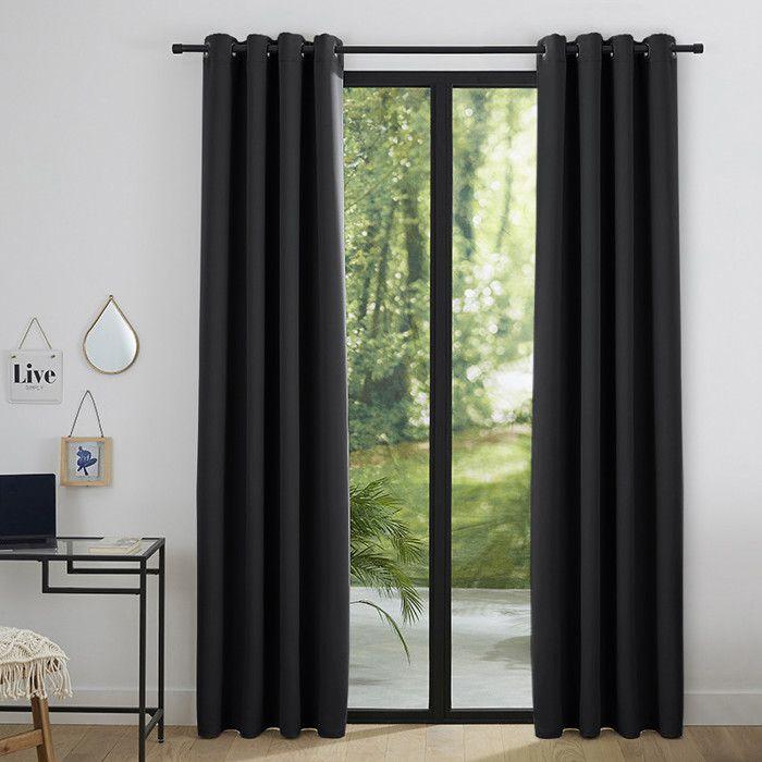 RIDEAU Lot de 2 rideaux occultant noir 140 x 260 cm