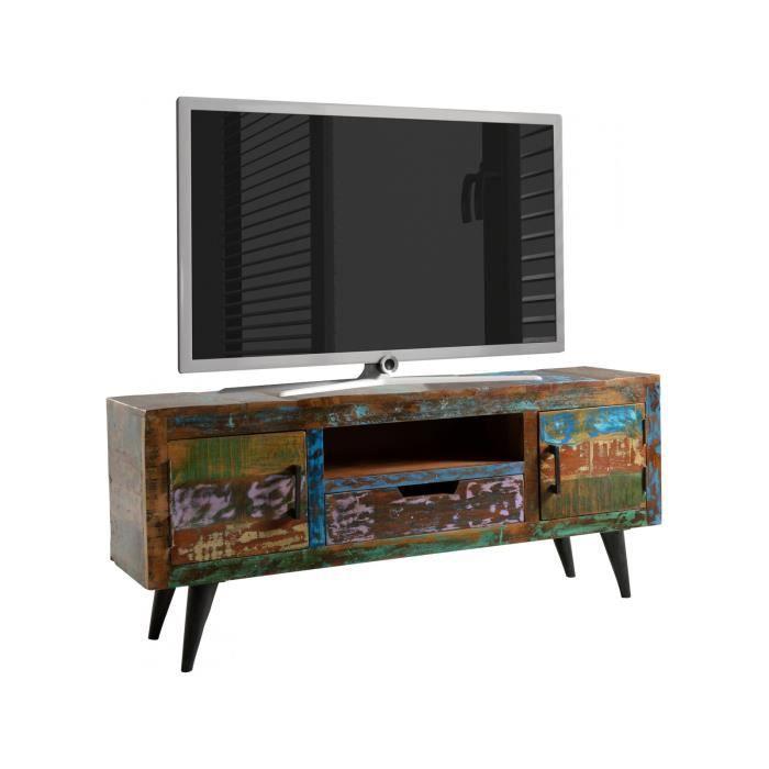 Meuble Tv Rustique 140x60 Cm Avec 1 Compartiment Ouvert 1 Tiroir Et