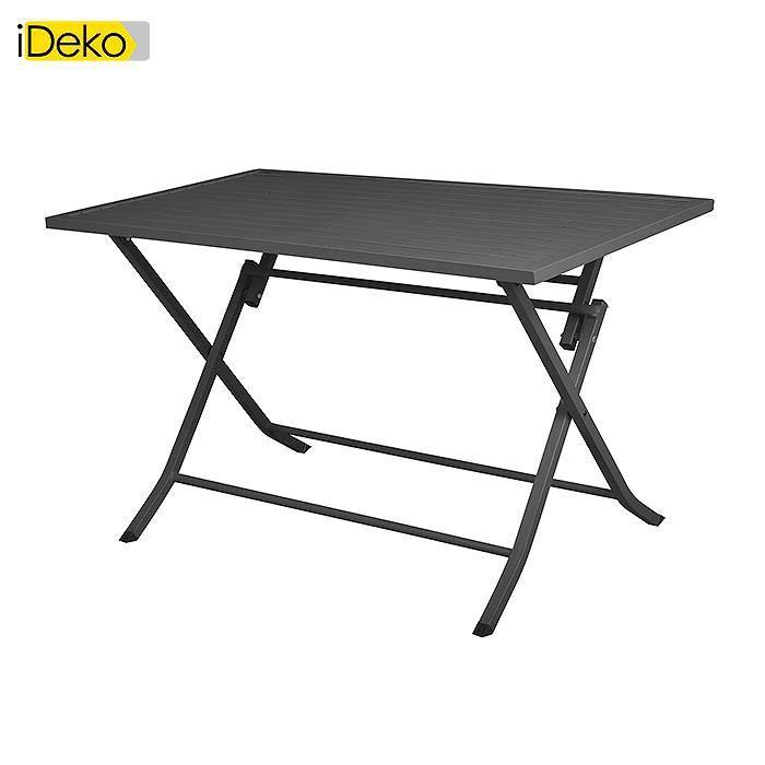 IDeko®Table de jardin pliante rectangulaire en aluminium L120cm ...