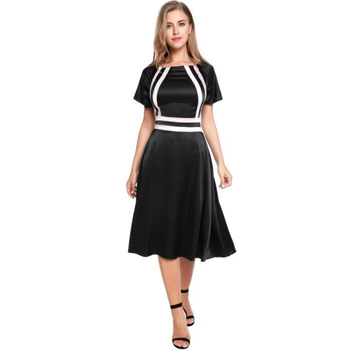 Femmes Robe CasualSleeve Patchwork O Flare