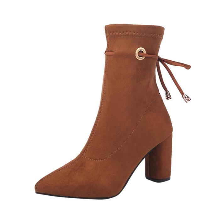 Haut Plate Forme Bottes Carré Bottines Exquisgift®bottes Marron~yjj71107381co Martin Chaussures Talons ebEYWDH29I