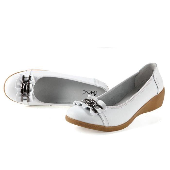 Loisirs Chaussons en cuir véritable femme Compensées Chaussures Slip-on Chaussures d'été à bout rond femme Chaussures