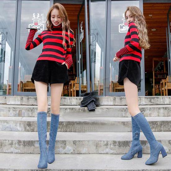 Chaudbleu Hiver Genou Hoof Bottes Femmes Chaussures Sexy Zipper Talons dessus Denim Du Les pSMzVqU