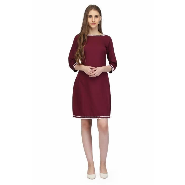 Crêpe Brown femmes couleur robe moulante Casual MU3FV Taille-34
