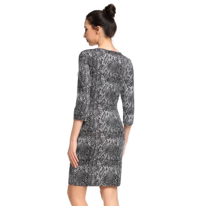 robe Slim femmes Casual col O trois quarts manches imprime Pullover élastique