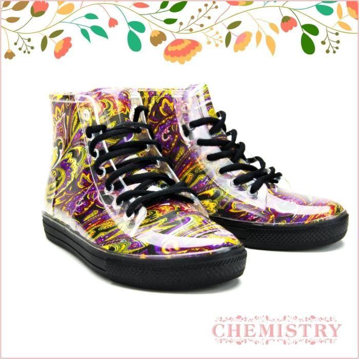 Cheville plat Floral Paisley Bottes de pluie gelée Sneaker FYGBT Taille-42