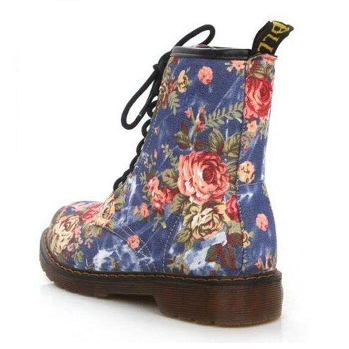 Chaussures femmes Cheville bleu Lace Floral Print Dames Plat Martin Doux Deuxsuns Bottes Femme up 68wq6