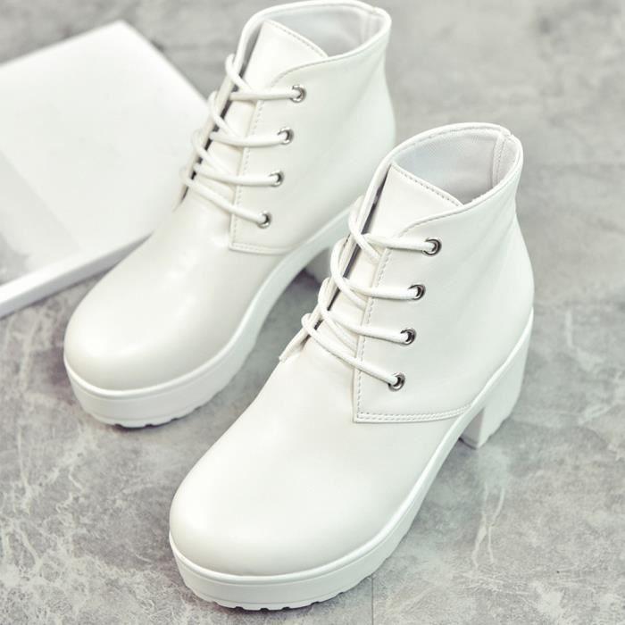 Bottes Blanc Pour Femme Chaussures Dames En Mode Cuir Plat Court Casual Cheville OP8xnqPS