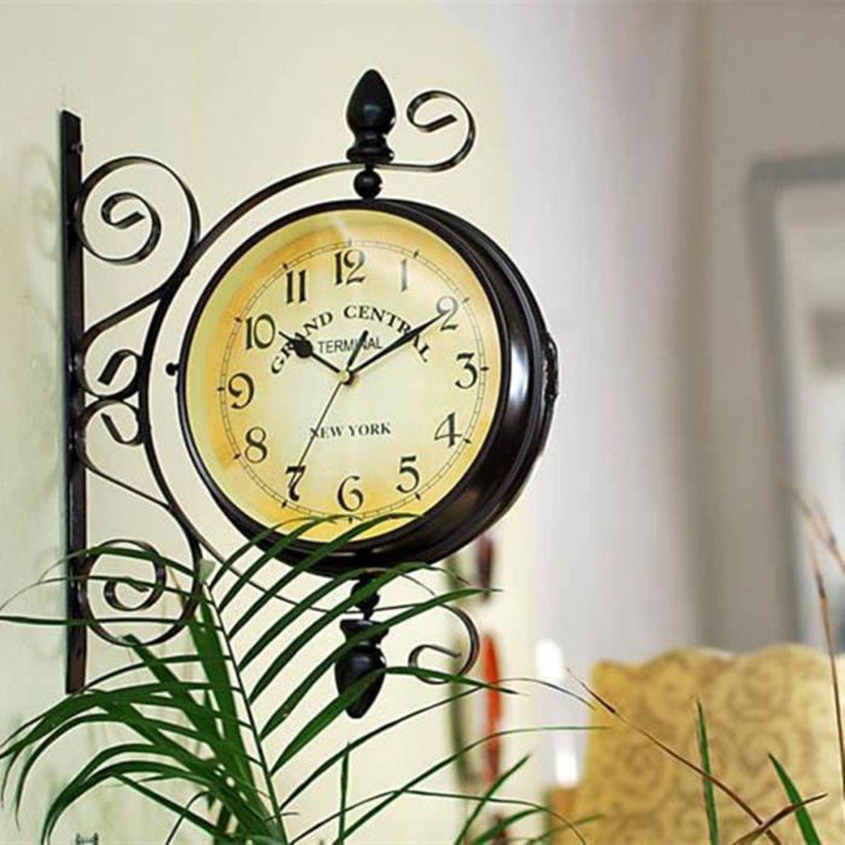 Horloge murale pendule double face cadran fer int rieur for Horloge murale 3 cadrans