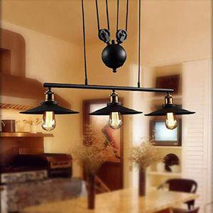 LUSTRE ET SUSPENSION Suspension Industrielle Poulie Rétro Lustre 3 Lamp