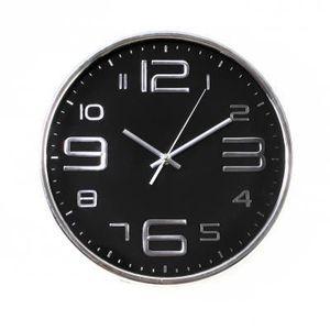 HORLOGE - PENDULE Horloge murale noire et argentée (D.30cm)